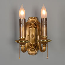 Dual-Tone 2-Light Colonial Revival Candle Sconce Pair, c1920