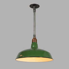 Steel Warehouse Pendant w/Large Green RLM Shade, c1925