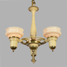 Classic Moderne 3-Light Chandelier w/Custard Shades, c1935