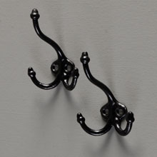 Pair of Classic Cast Iron Acorn-Tip Triple Hooks, c1870