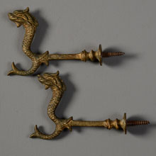 Pair Cast Bronze Sea Serpent Hall Tree Hooks, c1880