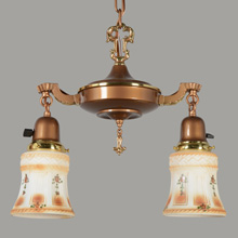 Lovely 2-Light Colonial Revival Pan Fixture, c1922