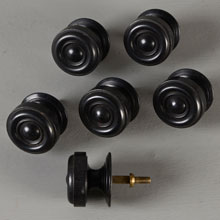 Rare Set of 6 Ebonized Wood Dresser Knobs, c1880