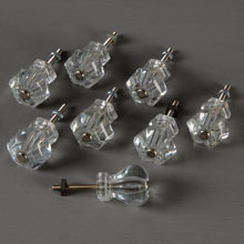 Set of 8 Classic Clear Hexagonal Cabinet Knobs, c1920