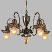 Late Sheffield Colonial Revival Bent-Brass Chandelier, c1920
