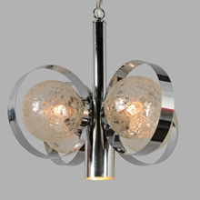 Contemporary Chandelier w/Crackle Glass Globes, c1975