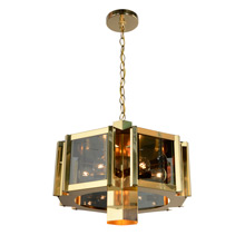 Brass & Smoky Glass Chandelier by Fredrick Ramond, c1975