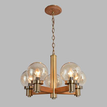Classic Oak & Brass Contemporary Chandelier, c1972