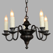 5-Arm Antique Brass Sheffield Chandelier, c1915