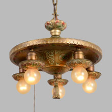 Stunning Polychrome Chandelier in Original Finish, c1930
