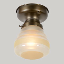 Art Deco Ceiling Fixture with Banded Shade