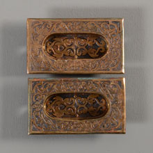 Pair of Ornate Bronze Flush Sash Lifts, c1885