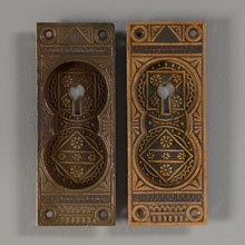 Pair of Aesthetic Movement Bronze Pocket Door Pulls, c1885