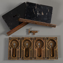 Mallory Wheeler Double Pocket Door Set w/Key, c1885