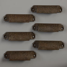 "Set of 6 Aesthetic ""Windsor"" Bin Pulls by Reading, c1885"