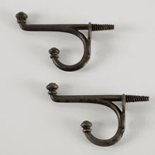 Pair of Iron Button-Tip Hooks w/Integral Screw, c1870