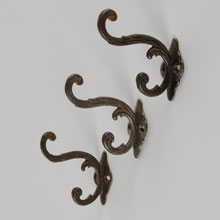 Set of 3 Botanical Inspired Double Coat Hooks, c1890