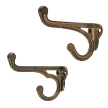 Pair of Decorative Cast Iron Double Coat Hooks, c1890
