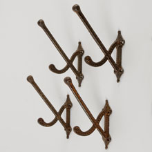 Set Of 4 Cast Iron Eastlake Coat Hooks, c1880