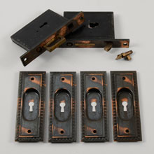 Egg & Dart Double Pocket Door Set W/Key, C1905