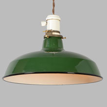 Twisted Cord Pendant w/Green RLM Warehouse Shade, c1930