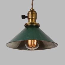 "Twisted Cord Pendant w/Green Tin 8"" Reflector Shade, c1915"