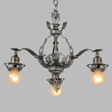 Antique Pewter Romance Revival 3-Light Chandelier, c1928