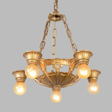 Demure Deco 5-Light Bare Bulb Chandelier, c1934