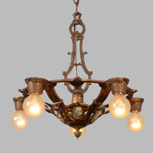 Cast Polychrome 5-Light Revival Chandelier w/Cameos, c1929