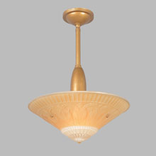 Gilt Streamline Pendant w/Art Deco Shade, c1935