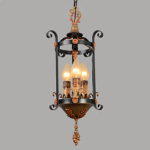 Decorative Wrought Iron Strap Lantern, c1928