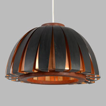 Black Enamel and Copper Zoetrope Mod Dome by Lightolier, c1966