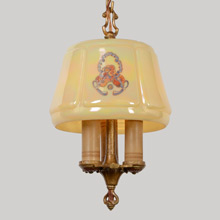 Lightolier Candle Fixture W/Decorated Iridized Shade, c1931