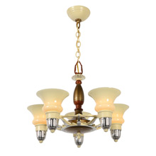 Colorful Late Deco Cup-Shade Chandelier, c1936