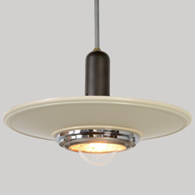 Sleek Silvray Duotone Streamline Moderne Commercial Pendant, c1948