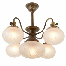 Classical Revival Chandelier W/ Cut Glass Shades C1910