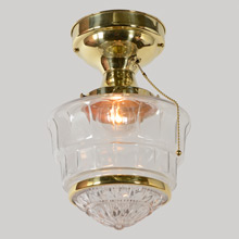 Art Deco Clear Beehive Semi-Flush Mount, c1935