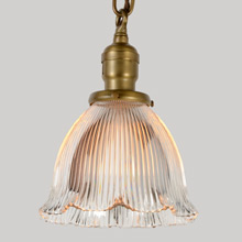 Old Brass Pendant W/Ruffled Holophane Shade, C1905