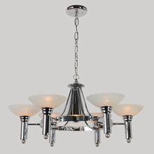Late Moderne 6-Light Chrome Chandelier w/Unusual Center Light, c1952