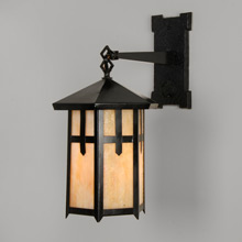 Mission Porch Lantern w/ Art Glass C1910