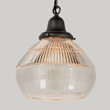 Industrial Chain Pendant with Holophane Shade