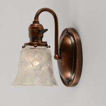 Pair of Colonial Revival Wall Sconces w/ Pressed-Glass Shade, c1915