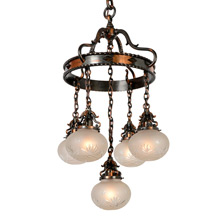 Eclectic Copper Suspended Ring and Shower Chandelier, c1915