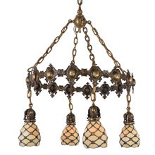 American Arts & Crafts Leaded-Glass Ring Chandelier, c1910