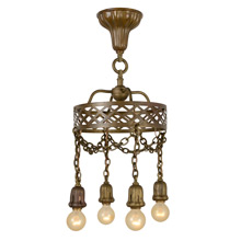 Antique Brass Four-Bulb Sheffield Shower Chandelier, c1910