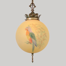 Chain Pendant w/Hand-Painted Parrot Shade, c1928