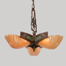Markel 3-Light Pendant W/Amber Shades, C1935