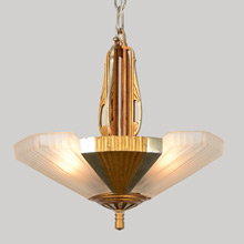3-Light Streamline Moderne Slipper Shade Chandelier, C1935