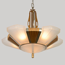 5-Light Streamline Moderne Slipper Shade Chandelier, C1935