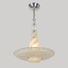 Unusual Bowl Chandelier w/ Tapered Glass Pillar, c1940